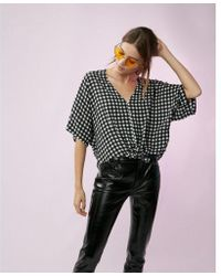 Express - Gingham Short Sleeve Tie Front Shirt - Lyst