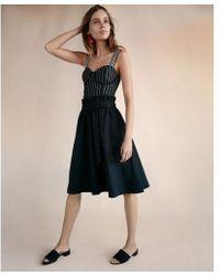 Express - Sash Tie Waist Cotton Midi Skirt - Lyst