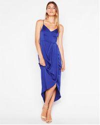 Express - Petite Satin Faux Wrap Maxi Dress - Lyst