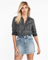 Express - Oversized Pocket Boyfriend Shirt - Lyst