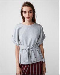Express | Heathered Tie Waist Rolled Sleeve Tee | Lyst
