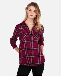 Express - Embellished Boyfriend Flannel Shirt - Lyst