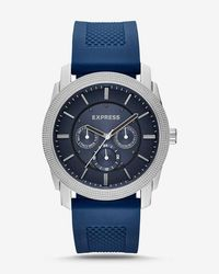 Express - Rivington Textured Silicone Multifunction Watch - Navy - Lyst