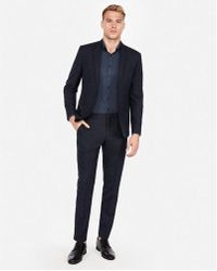 Express - Extra Slim Dark Navy Check Wool Suit Pant - Lyst