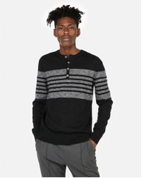 Express - Marled Stripe Henley Sweater - Lyst