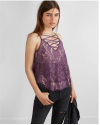 Express - Floral Lace Tiered Lace-up V-neck Cami - Lyst