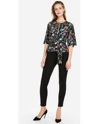 Express - Floral Tie Front Flutter Sleeve Blouse Floral Print - Lyst