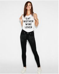 Express - Cat Mother Wine Lover Graphic Muscle Tank - Lyst