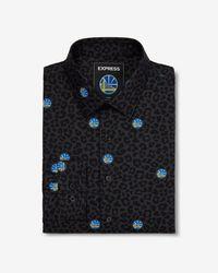 Express - Slim Golden State Warriors Nba Printed Stretch Dress Shirt Black - Lyst