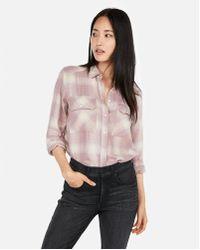 Express - Laid Flannel Boyfriend Shirt - Lyst