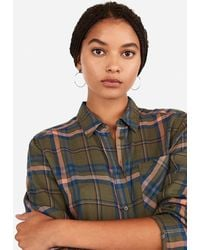 Express Metallic Plaid Boyfriend Flannel Shirt Green Print