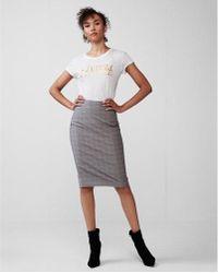 Express - High Waisted Windowpane Pencil Skirt - Lyst