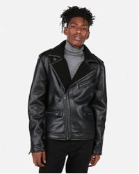Express - Faux Leather Shearling Asymmetrical Jacket - Lyst