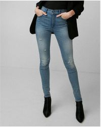Express - High Waisted Stretch+ Performance Denim Perfect Leggings - Lyst