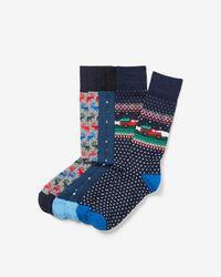 Express - Set Of Three Holiday Print Socks Gift Set - Lyst