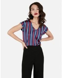 Express - Striped V-neck Gramercy Tee - Lyst