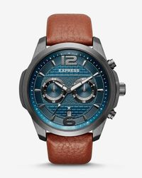 Express - Pebbled Leather Multi-function Watch - Lyst