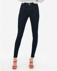 e5f1cc2f17137 Express - High Waisted Denim Perfect Dark Wash Ankle Leggings Blue - Lyst