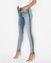Express High Waisted Denim Perfect Curves Seam Detail Jeggings, - Blue