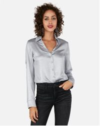 Express - Petite Slim Fit Shimmer Portofino Shirt - Lyst