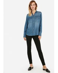 Express Denim Oversized Pocket Military Boyfriend Shirt Blue