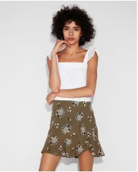 Express - Paisley Ruffle Hem Mini Skirt - Lyst