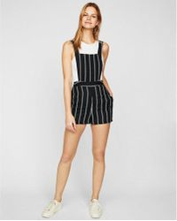 Express - Striped Overall Shorts - Lyst