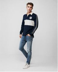 Express - Rugby Racer Stripe Sleeve Cotton Jersey Polo - Lyst