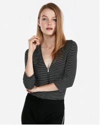 Express - One Eleven Striped Deep V Zip Front Thong Bodysuit - Lyst