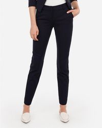 Express - Mid Rise Piped Ankle Columnist Pant Blue - Lyst