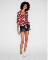 Express - Floral Short Sleeve Tie Front Shirt - Lyst