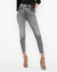 Express - Super High Waisted Denim Perfect Stretch+ Cropped Leggings - Lyst