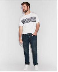 Express - Slim Straight Dark Wash Soft Cotton Jeans - Lyst