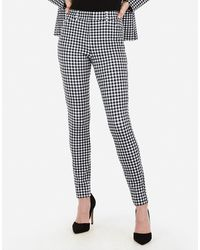 Express - High Waisted Gingham Print Stretch Skinny Pant Black And White - Lyst