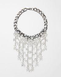 Express - Teardrop Stone Fringe Necklace - Lyst