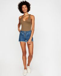 e449dfe583 Express - High Waisted Zip Front Cutoff Original Denim Shorts Blue - Lyst