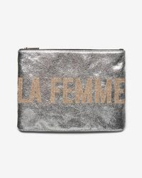 Express - La Femme Metallic Clutch - Lyst