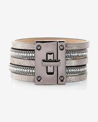 Express - Rhinestone Metallic Turnlock Bracelet - Lyst