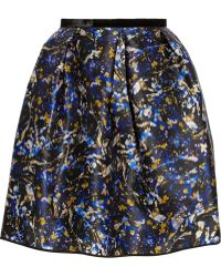 Erdem Levinia Printed Silkgazar Mini Skirt - Lyst