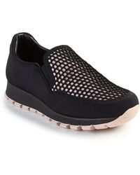 Prada | Honeycomb Mesh Slip-on Sneakers | Lyst