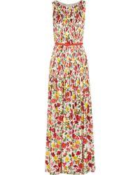 Oscar de la Renta Floral-Print Silk-Satin Gown - Lyst