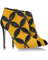 Rene Caovilla Yellow Ankle Boots - Lyst