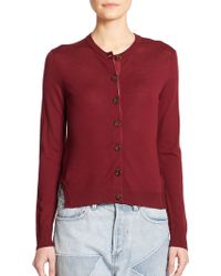 Marc By Marc Jacobs Wool Pinstripe-Back Cardigan red - Lyst