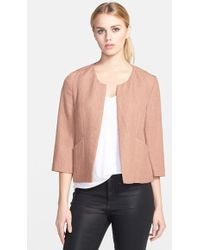 Trouvé Collarless Textured Jacket brown - Lyst