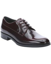 Tod's Bordeaux Leather Lace Up Oxfords - Lyst