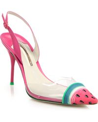 Sophia Webster Watermelon-Print Leather & Translucent Slingback Pumps - Lyst