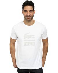 Lacoste Jersey Short Sleeve Crew Neck Discharge Printed Logo Graphictee Shirt - Lyst