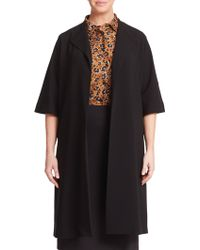 Marina Rinaldi Crepe Long Open-Front Jacket black - Lyst