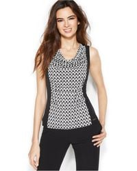 Calvin Klein Graphic-panel Draped-neck Top - Lyst