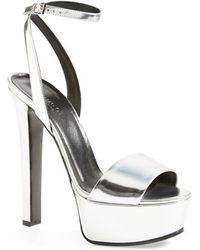 Gucci 'Leila' Metallic Platform Sandal - Lyst